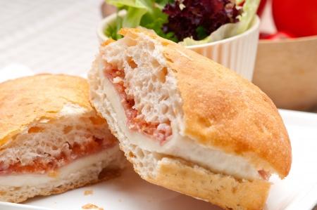 Italian ciabatta panini sandwich with parma ham and tomato Stock Photo - 19413075