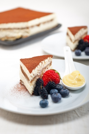 classic Italian tiramisu dessert with berries and custartd pastry cream on side  Stock Photo - 19413069