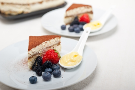 classic Italian tiramisu dessert with berries and custartd pastry cream on side  Stock Photo - 19413068