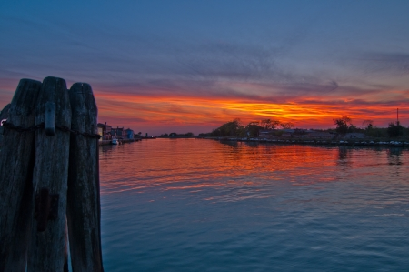 beautiful sunset on Italy Venice Burano island  photo