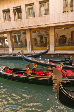Venice Italy Gondolas on canal , most famous boat  Stock fotó