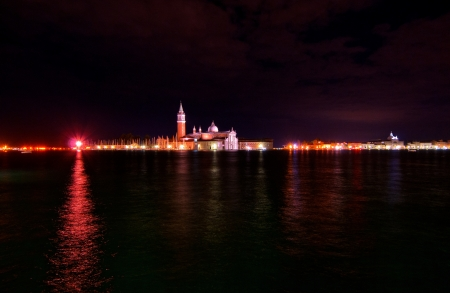 Venice Italy Saint George island one of the icon of the town night view photo