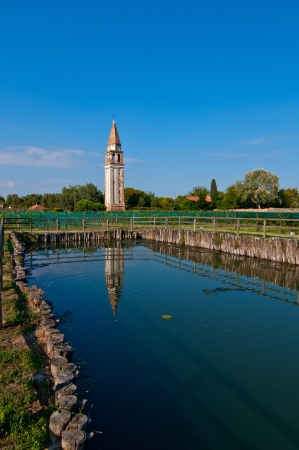 Venice Burano Mazorbo vineyard with campanile  belltower of Saint Caterina on the background photo