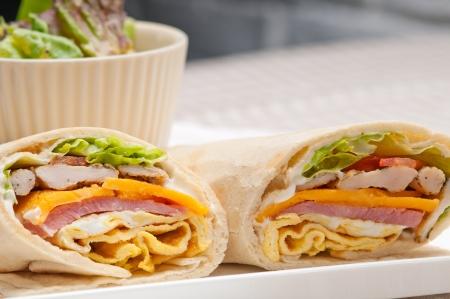 fresh and healthy club sandwich pita bread roll Stock Photo - 21745218