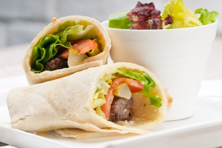 chicken sandwich: kafta shawarma chicken pita wrap roll sandwich traditional arab mid east food