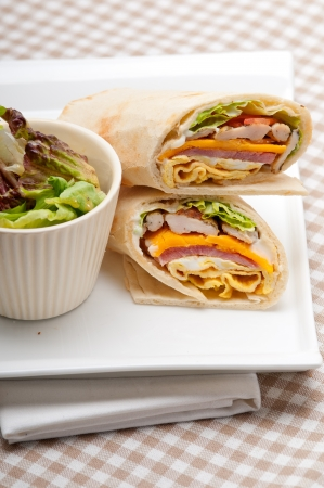 fresh and healthy club sandwich pita bread roll Stock Photo - 22017112