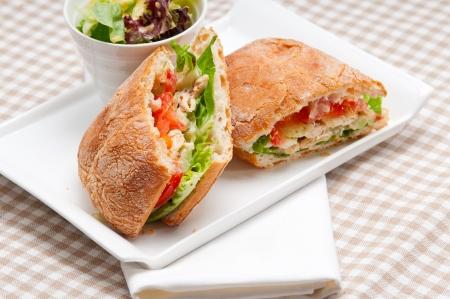 italian ciabatta panini sandwich with chicken and tomato 스톡 사진