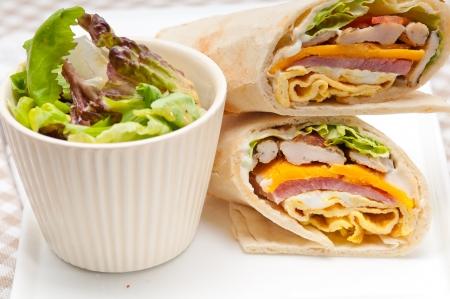 fresh and healthy club sandwich pita bread roll Stock Photo - 22551898