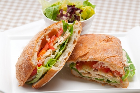 italian ciabatta panini sandwich with chicken and tomato photo