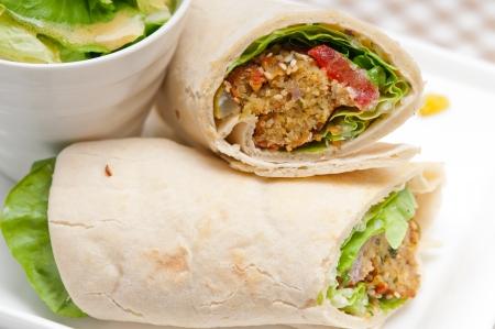 falafel pita bread roll wrap sandwich traditional arab middle east food photo