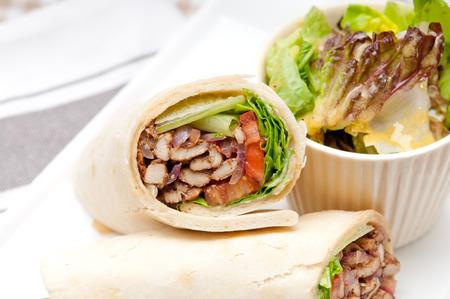 kafta shawarma chicken pita wrap roll sandwich traditional arab mid east food photo