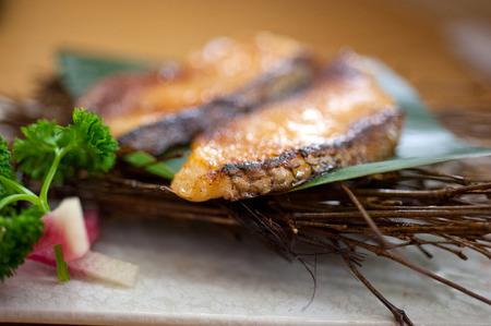 codfish: Japanese style teppanyaki roasted cod fish on palm leaf