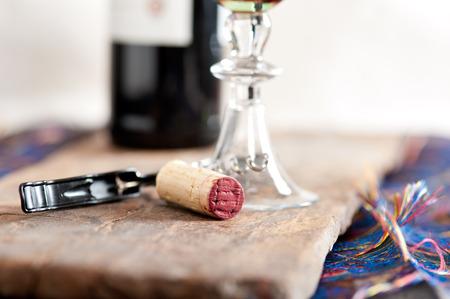 red wine corking and tasting closeup macro
