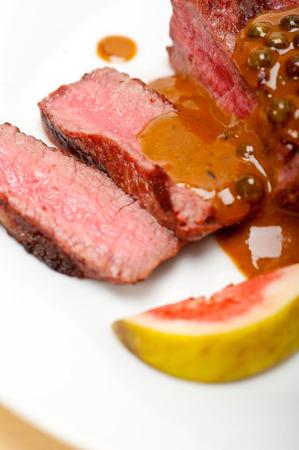 ou: beef filet mignon with green peppercorn creamy sauce ou poivre vert Stock Photo