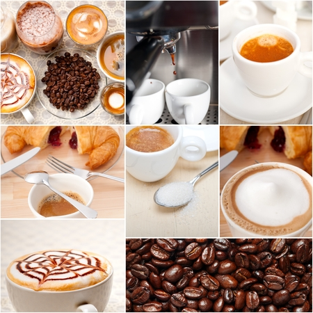 nested: selection of different coffee type on collage composition nested white frame