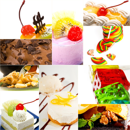 dessert cake and sweets collection collage bright mood photo