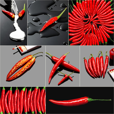fresh red hot chili peppers collage composition on a square  frame photo