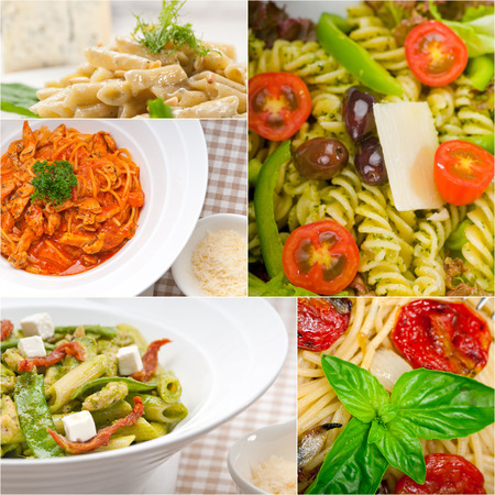 collection of different type of Italian pasta on collage white frame photo