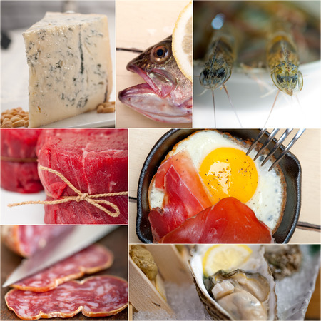 combining: high protein food collection collage nested on white frame
