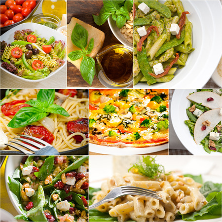 healthy vegetarian pasta soup salad pizza Italian food staples collage photo