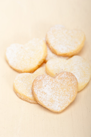 shortbread: fresh baked heart shaped shortbread valentine day cookies