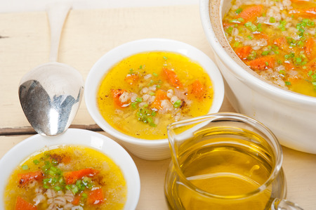traditional Syrian barley broth soup Aleppo style called talbina or tirbiyali typical food after Ramadan photo