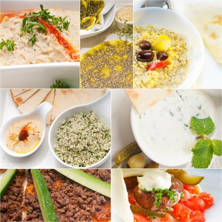comida arabe: Árabe colección collage comida oriental en el marco blanco