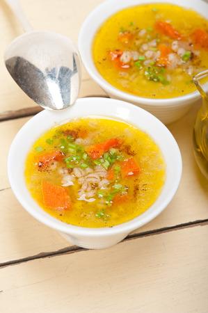 traditional Syrian barley broth soup Aleppo style called talbina or tirbiyali typical food after Ramadan photo