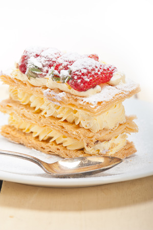 napoleon dessert: fresh baked napoleon strawberry and cream cake dessert
