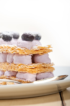 napoleon dessert: fresh baked napoleon blueberry and cream cake dessert