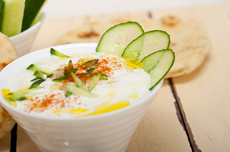 in wa: Arab middle east salatit laban wa kh'yar Khyar Bi Laban goat yogurt and cucumber salad Stock Photo