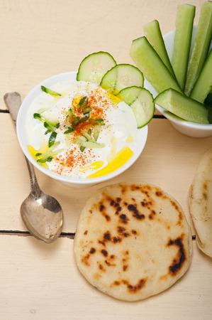 bi: Arab middle east salatit laban wa kh'yar Khyar Bi Laban goat yogurt and cucumber salad Stock Photo