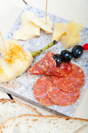 cold cut: cold cut assortment cheese salami and fresh pears