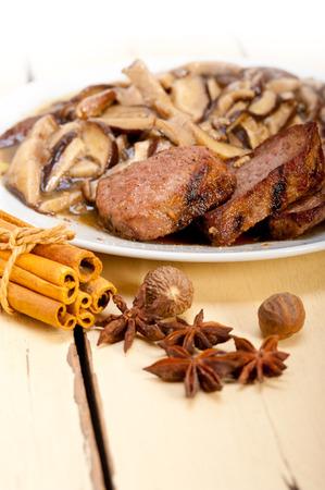 wild mushrooms: venison deer game filet tenderloin and fresh wild mushrooms