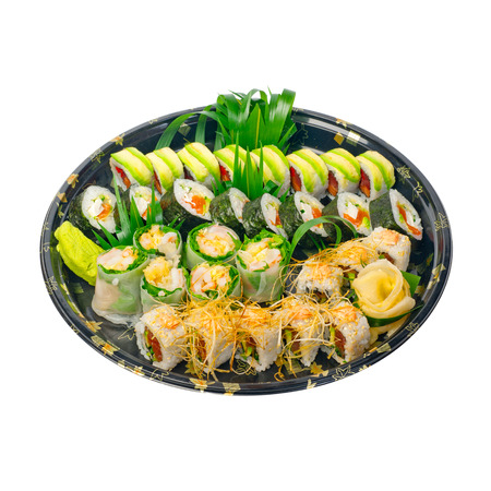 take away: take away selection of fresh sushi express on plastic tray Stock Photo