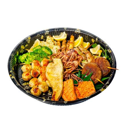 take away: Take away selection of fresh sushi express on plastic tray