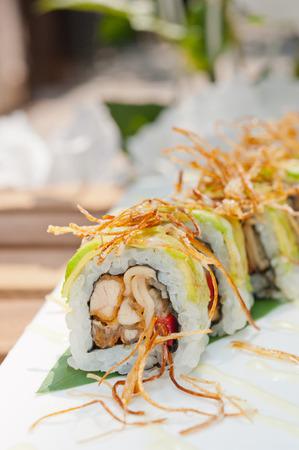 maki sushi: Fresh made Japanese sushi rolls called Maki Sushi Stock Photo