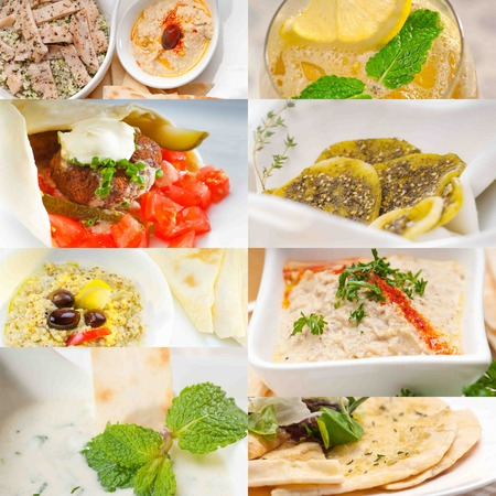 middle eastern food: Arab middle eastern food collage collection on white frame Stock Photo