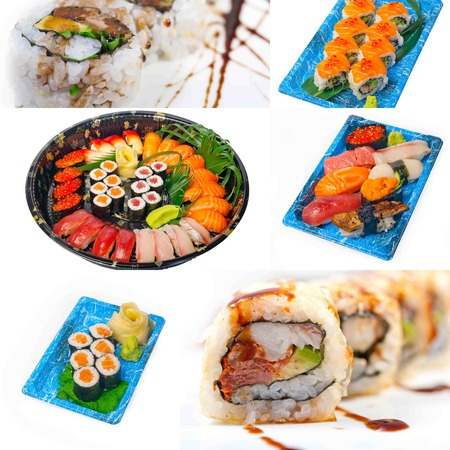 lunch tray: selection of many Japanese sushi dish collage over white frame