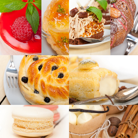and delicious food: fresh colorful delicious homemade dessert cake selection composition collage Stock Photo