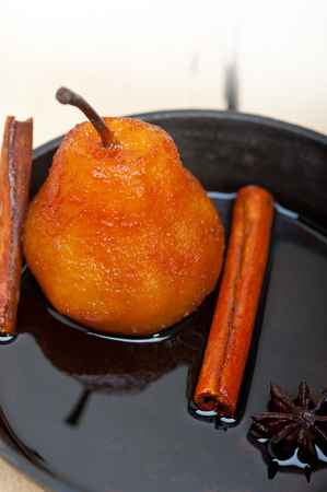 ove: poached pears delicious home made recipe ove white  rustic wood table