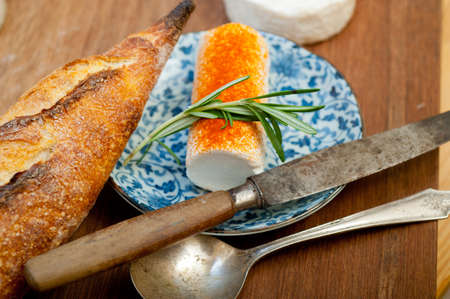 French cheese and fresh baguette on a wood cutter Reklamní fotografie