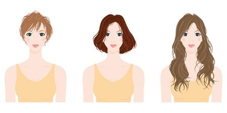 cabello largo y hermoso: mujer de Peinado Vectores