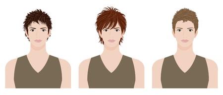 男の髪型  イラスト・ベクター素材