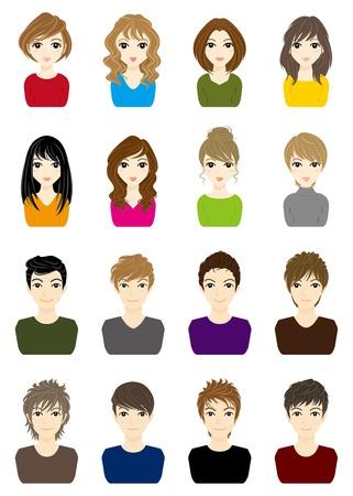 mann mit langen haaren: Jungen und M�dchen Illustration