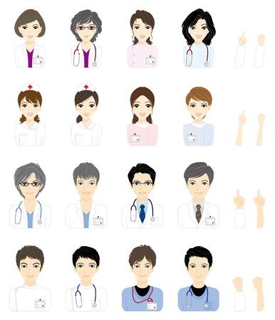 medicina interna: Doctor en la cara Vectores