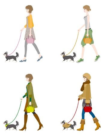 femme et chien: Fille marchant avec un chien Illustration