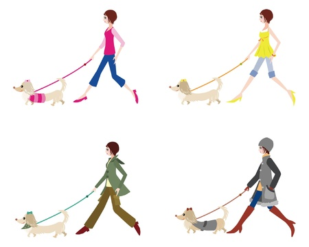 Girl walking with dog Vector