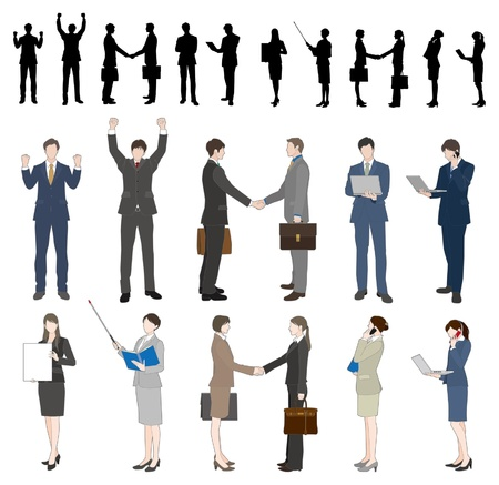 busy person: Empresario  Empresaria Vectores