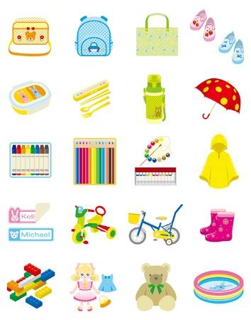jouet: Les enfants et les fournitures n�cessaires quotidiens Illustration
